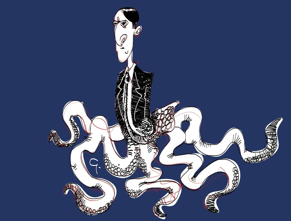 A drawing of HP Lovecraft, by Giannis.