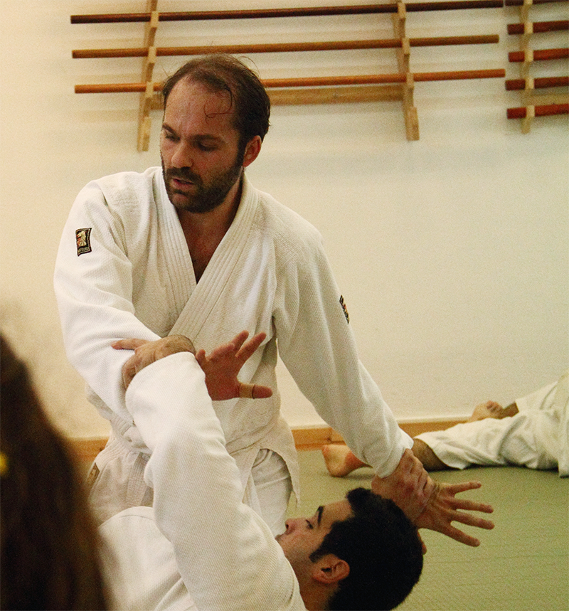 Giannis performing the kokyu dosa exercise in aikido.